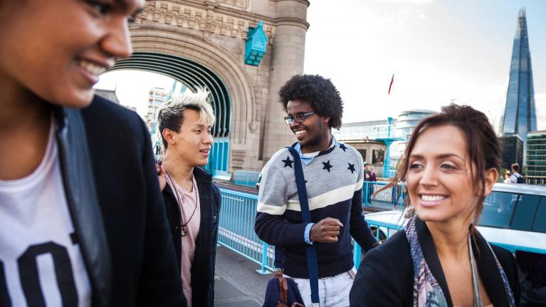 International students on Tower Bridge